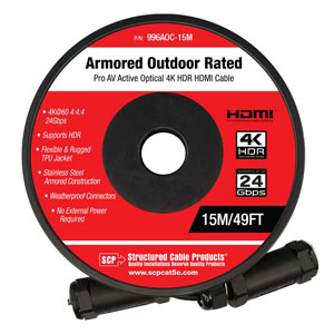 Armored HDMI 2.0b AOC 24GbpS - Outdoor Rated - SCP Structured Cable Products